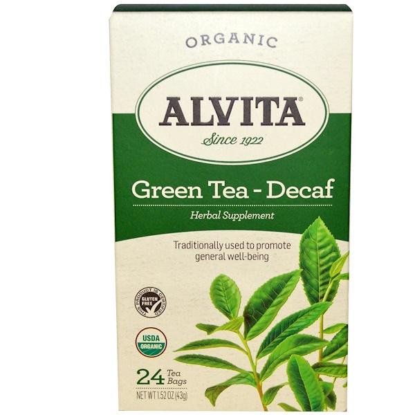 Alvita Teas, 有機綠茶 - 去咖啡因,24茶包,1、52盎司(43克)