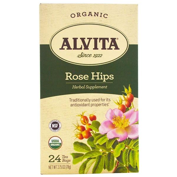 Alvita Teas, Organic, Rose Hips Tea, Caffeine Free, 24 Tea Bags, 2.75 oz (78 g)
