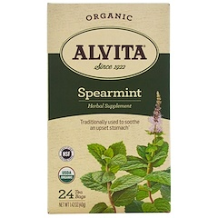 Alvita Teas, Organic, Spearmint Tea, Caffeine Free, 24 Tea Bags, 1.42 oz (40 g)