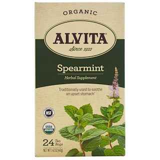 Alvita Teas, オーガニック、スペアミントティー、カフェインフリー、ティーバック24袋、1.42オンス(40 g)