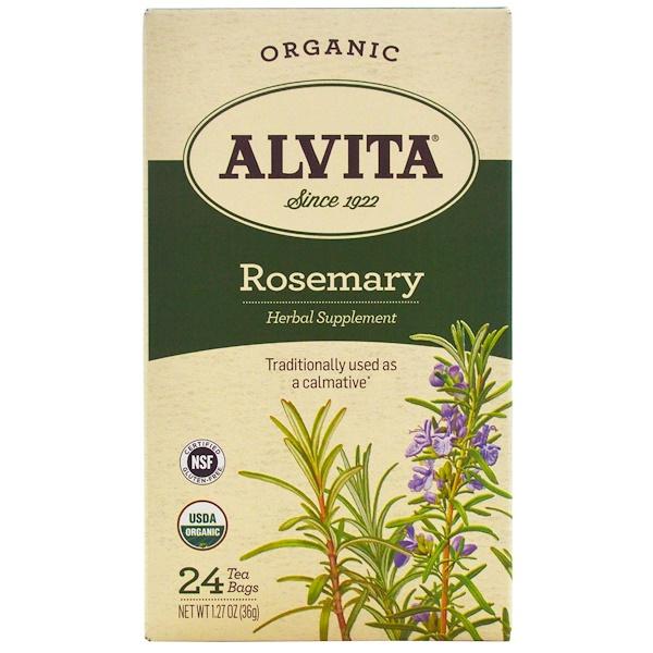 Alvita Teas, オーガニック、ロズマリ―ティー、カフェインフリー、ティーバック24袋、1.27オンス(36 g)