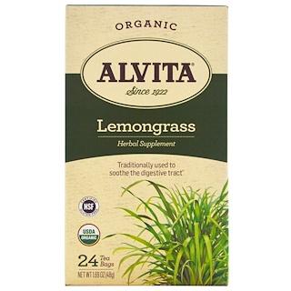 Alvita Teas, Orgánico, Té de Zacate Limón, Sin Cafeína, 24 Bolsitas de Té, 1.69 oz (48 g)