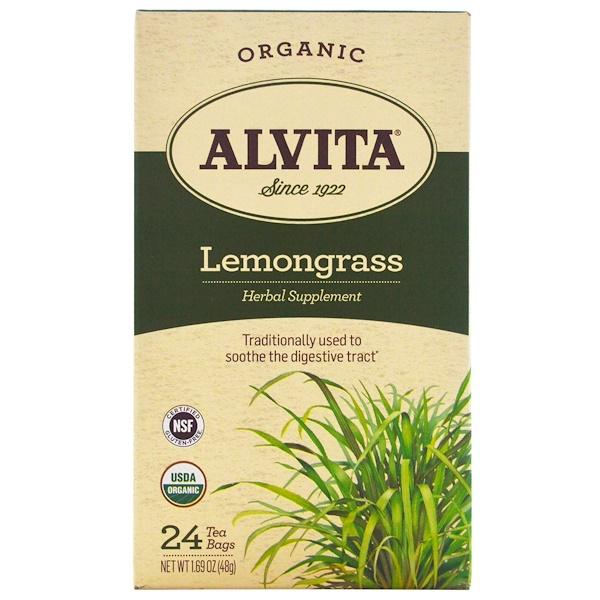Alvita Teas, 有機,檸檬草茶,不含咖啡因,24茶包,1、69盎司(48克)