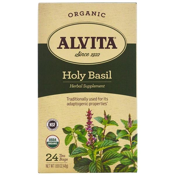 Alvita Teas, Organic, Holy Basil Tea, Caffeine Free, 24 Tea Bags, 1.69 oz (48 g) (Discontinued Item)