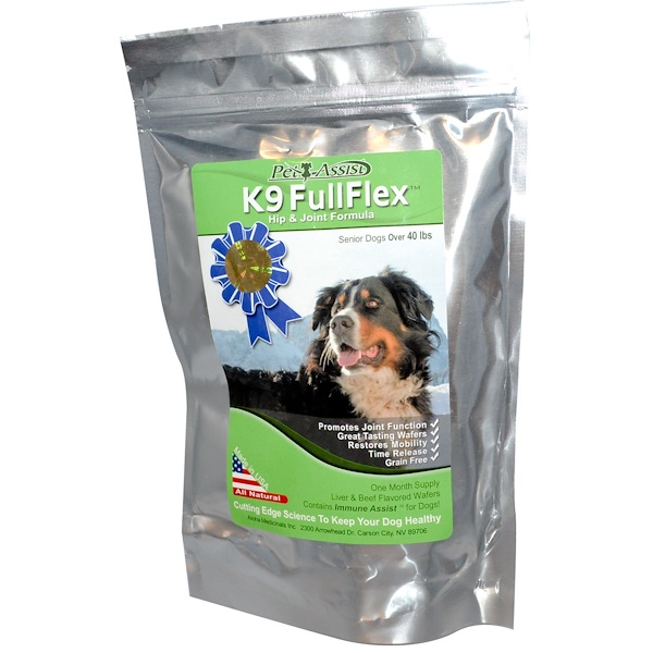 Aloha Medicinals Inc., K9 FullFlex, Hip & Joint Formula, For Senior Dogs, Liver & Beef Flavored, 60 Wafers (Discontinued Item)