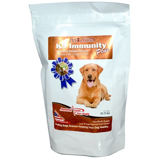 Aloha Medicinals Inc., K9 Immunity Plus, For Medium Dogs, Liver & Fish Flavored, 60 Soft Chews