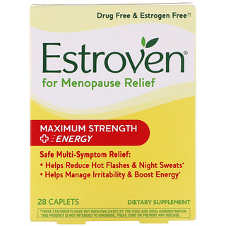 Estroven, Menopause Relief, Maximum Strength + Energy, 28 Caplets