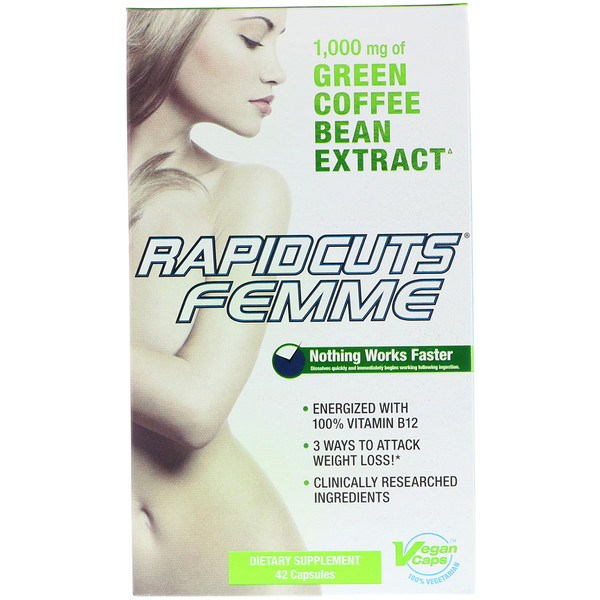 FEMME, Rapidcuts Femme, Green Coffee Weight Loss with Vitamin B12, 42 Capsules