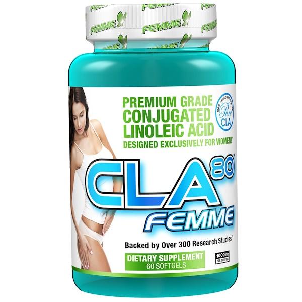 飲食,減肥共軛亞油酸CLA配方:FEMME, CLA80, 1,000 mg, 60 Softgels