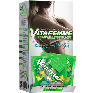 FEMME, Vitafemme, 21-Day Women's Multivitamin + Omega 3 + Probiotic + Anti-Aging Blend, 21 Packets