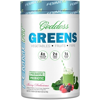 FEMME, Goddess Greens, Acai + Spirulina + Chlorella Super Food Mix, Berry Delicious, 11.3 oz (320 g)
