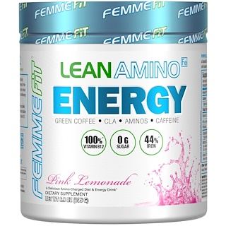 FEMME, Lean Amino Energy, Fat-Burning BCAA + CLA + B12 + Caffeine Drink, Pink Lemonade, 6.9 oz (195 g)
