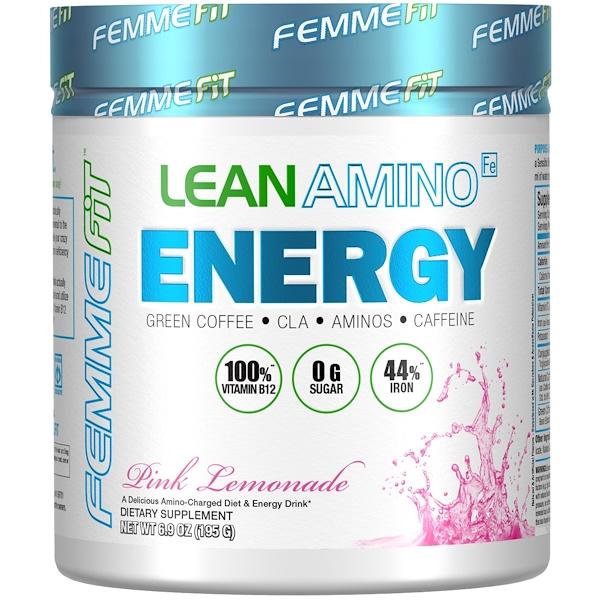 FEMME, Lean Amino Energy, Fat-Burning BCAA + CLA + B12 + Caffeine Drink, Pink Lemonade, 6.9 oz (195 g) (Discontinued Item)