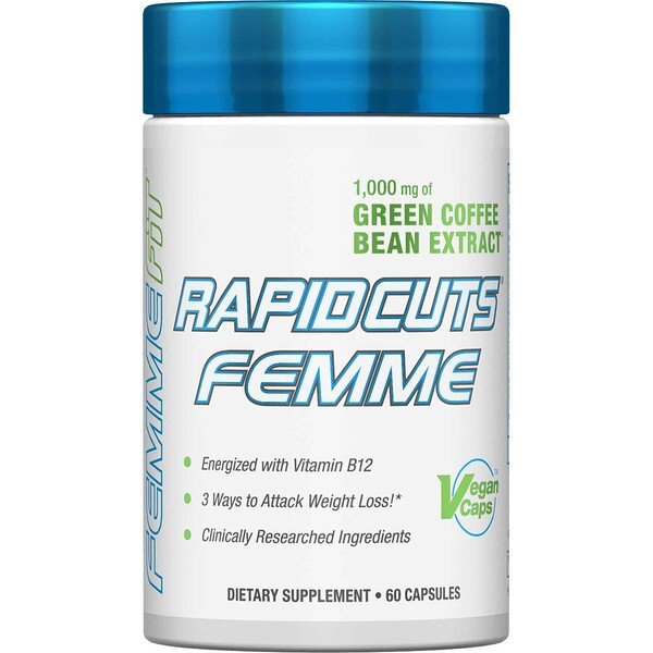 Rapidcuts Femme, Green Coffee Extract + Vitamin B12, 1,000 mg, 60 Vegan Caps