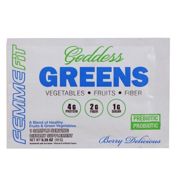 FEMME, Goddess Greens, Acai + Spirulina + Chlorella Super Food Mix, Berry Delicious, 0.35 oz (10 g)