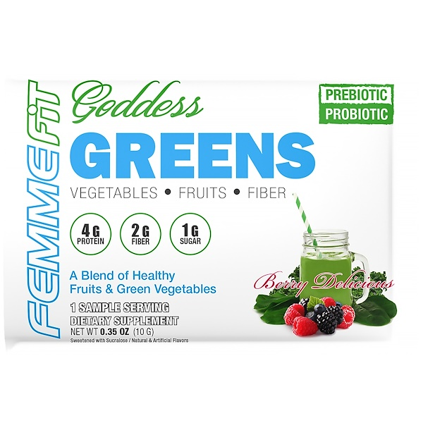FEMME, Goddess Greens, Acai + Spirulina + Chlorella Super Food Mix, Berry Delicious, 0.35 oz (10 g) (Discontinued Item)