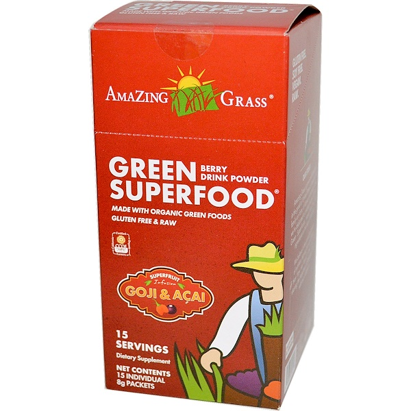 Amazing Grass, Green Superfood, Berry Drink Powder, 15 Individual Packets, 8 g Each (Discontinued Item)