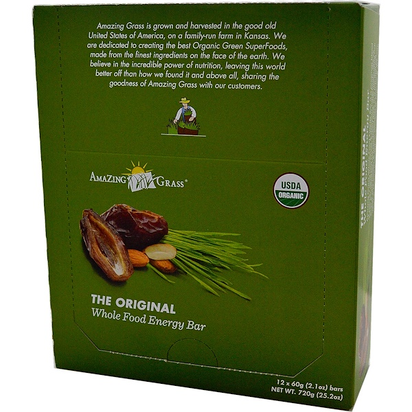 Amazing Grass, Whole Food Energy Bar, The Original, 12 Bars, 2.1 oz (60 g) Each (Discontinued Item)