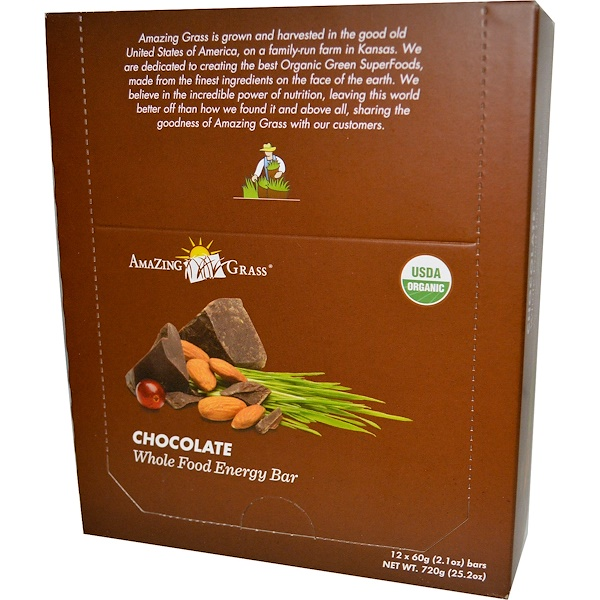 Amazing Grass, Whole Food Energy Bar, Chocolate, 12 Bars, 2.1 oz (60 g) Each (Discontinued Item)