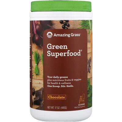 Купить Amazing Grass Green Superfood, шоколадный сухой напиток, с какао, 17 унций (480 г)