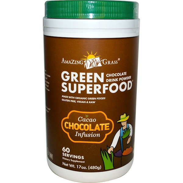 Amazing Grass, Green Superfood, Chocolate Drink Powder, Cacao Infusion, 17 oz (480 g)