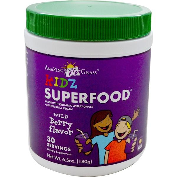 Amazing Grass, 兒童有機食物粉, 漿果味, 6、5 盎司 (180 克)