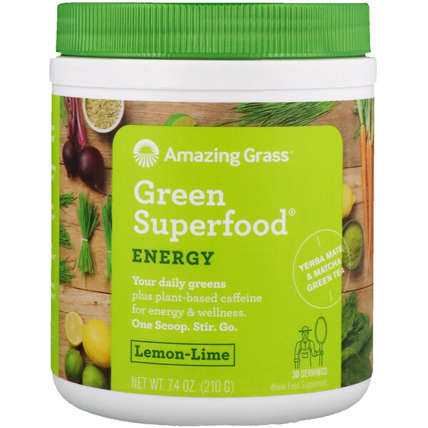 Amazing Grass, Green Superfood، طاقة، ليمون حامض، 7.4 أونصة (210 غ)