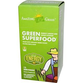 Amazing Grass, グリーンスーパーフード®, エナジー・レモンライム・ドリンクパウダー, 個別包装 15 袋, 各 7 g