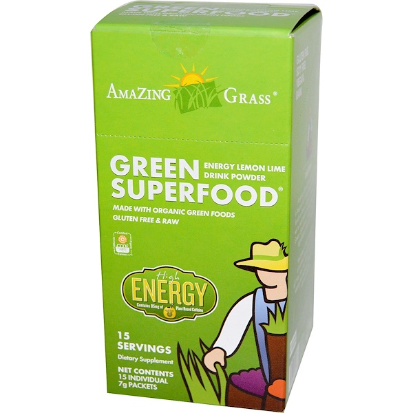 Amazing Grass, Green Superfood, Energy Lemon Lime Drink Powder, 15 Individual Packets, 7 g Each