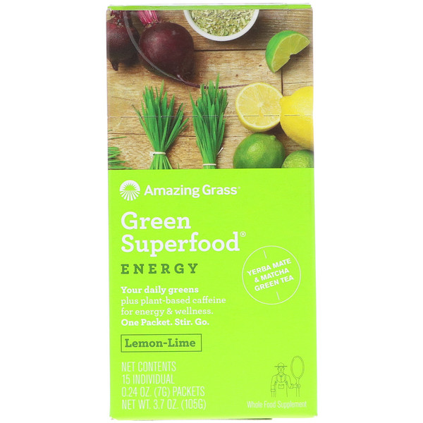 Amazing Grass, Green Superfood, Energy, Lemon Lime Flavor, 15 Individual Packets, 0.24 oz (7 g) Each (Discontinued Item)