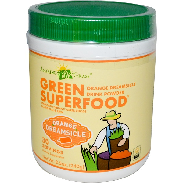Amazing Grass, Green Superfood, Orange Dreamsicle Drink Powder, 8.5 oz (240 g) (Discontinued Item)