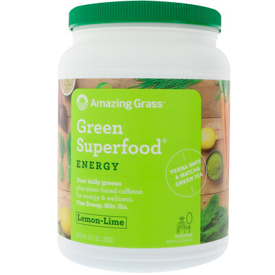 Купить Amazing Grass Green Superfood для повышения уровня энергии, лимон и лайм, 700 г (1, 5 фунта)
