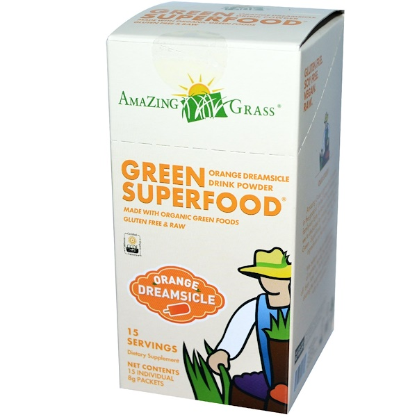 Amazing Grass, Green SuperFood, Orange Dreamsicle Drink Powder, 15 Packets, 8 g Each (Discontinued Item)