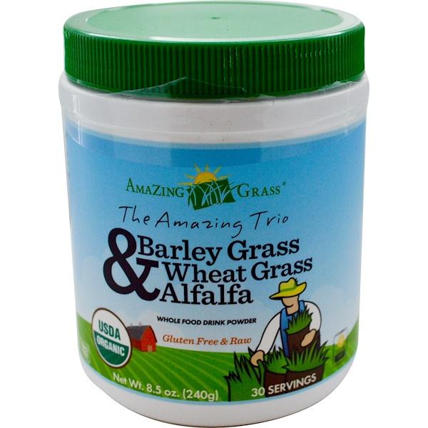 Amazing Grass, The Amazing Trio, Barley Grass & Wheat Grass & Alfalfa, 8.5 oz (240 g)