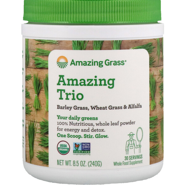 Amazing Grass, The Amazing Trio, Gerstengras & Weizengras & Alfalfa, 8,5 oz (240 g)