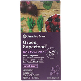 Amazing Grass, グリーンスーパーフード、抗酸化、スイートベリー、個別パケット15個、各0.24オンス (7 g)
