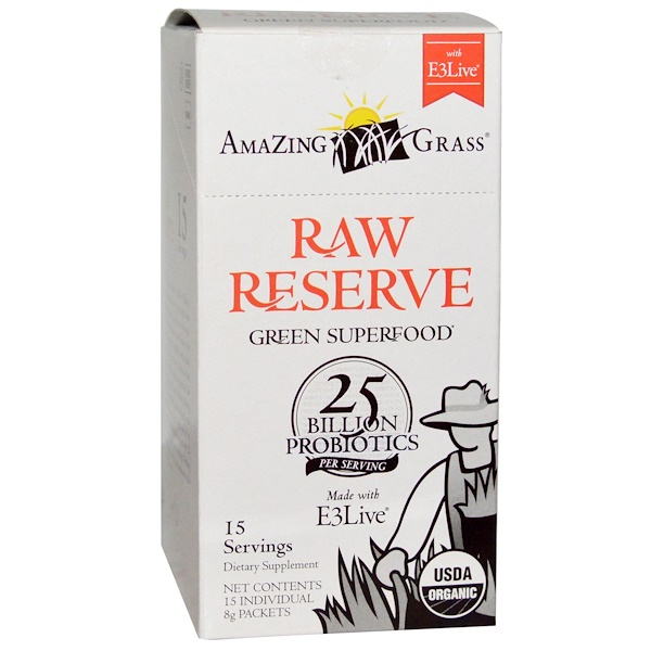 Amazing Grass, Green Superfood, Raw Reserve with E3 Live, 15 Packets, 8 g Each (Discontinued Item)