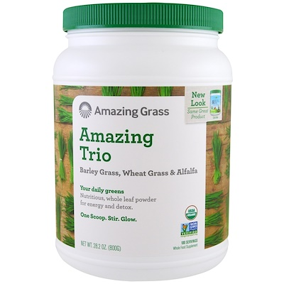 цена на Amazing Trio, Barley Grass & Wheat Grass & Alfalfa, 28.2 oz (800 g)