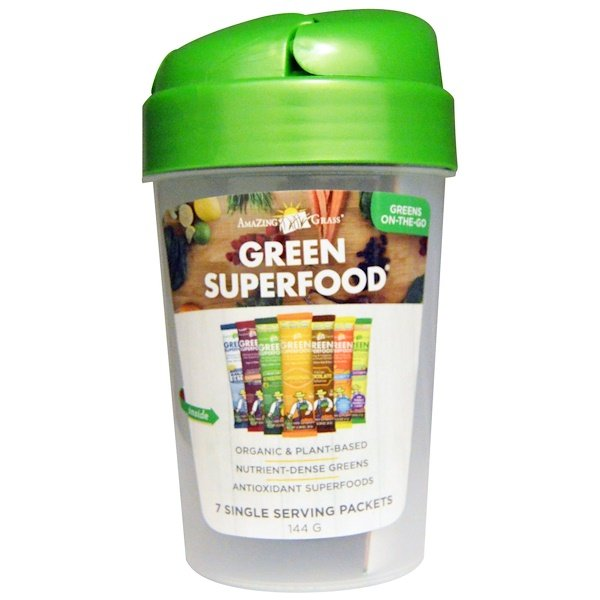 Amazing Grass, Green Superfood Shaker Cup and 7 Flavors of Green Superfood、1 - 20 oz Cup、7袋、各7 g