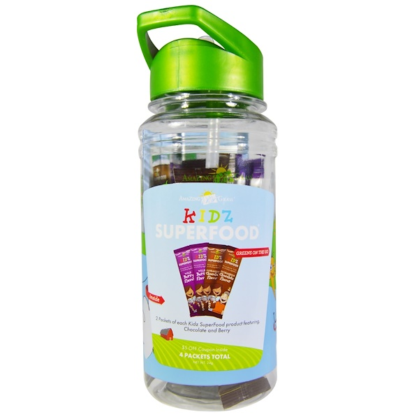 Amazing Grass, Kidz Shaker Cup and 4 Packets of Kidz Green Superfood, 20 oz Cup, 4 Packets (7 g) Each (Discontinued Item)