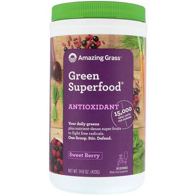 Amazing Grass Green Superfood, антиоксиданты, сладкие ягоды, 14, 8 унц. (420 г)  - Купить