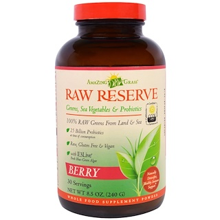 Amazing Grass, Raw Reserve, Greens, Sea Vegetables & Probiotics, Berry, 8.5 oz (240 g)