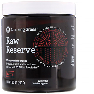 Amazing Grass, Raw Reserve, Ultra Premium Greens, Berry, 8.5 oz (240 g)
