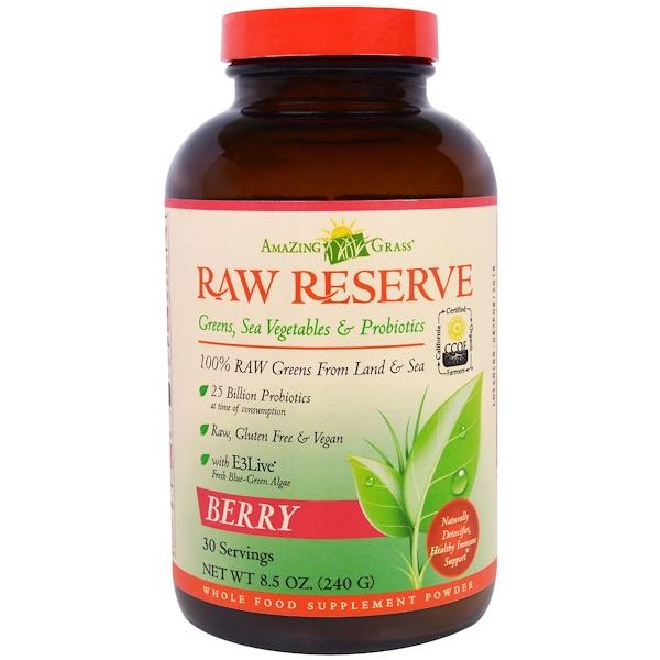 Amazing Grass, Raw Reserve, Greens, Sea Vegetables & Probiotics, Berry, 8.5 oz (240 g)