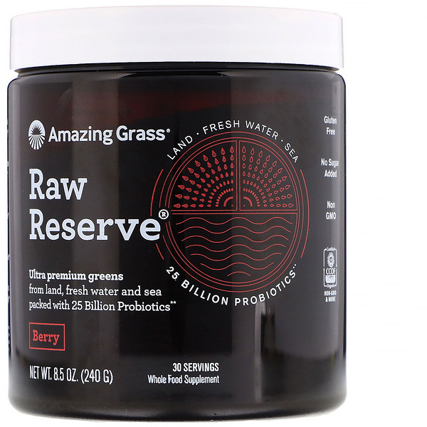 Amazing Grass, Raw Reserve, Ultra Premium Greens, Berry, 8.5 oz (240 g) (Discontinued Item)