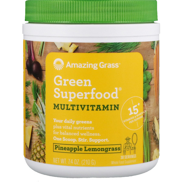 Amazing Grass, Green Superfood, Multivitamin, Pineapple Lemongrass, 7.4 oz (210 g)