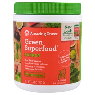 Amazing Grass, Green Superfood, Energy, Watermelon, 7.4 oz (210 g)