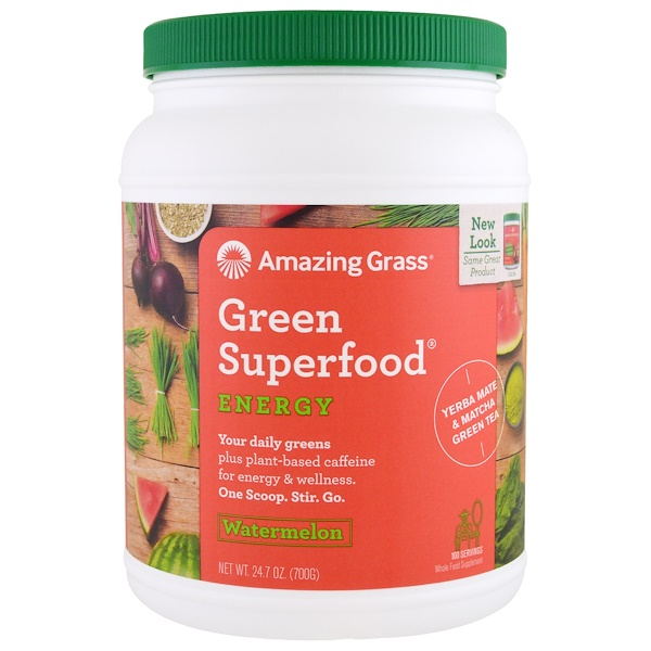Amazing Grass, Green Superfood, Energy, Watermelon, 24.7 oz (700 g) (Discontinued Item)
