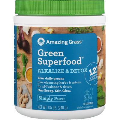 Купить Amazing Grass Green Superfood, добавка для снижения кислотности и выведения токсинов, 240г (8, 5унции)