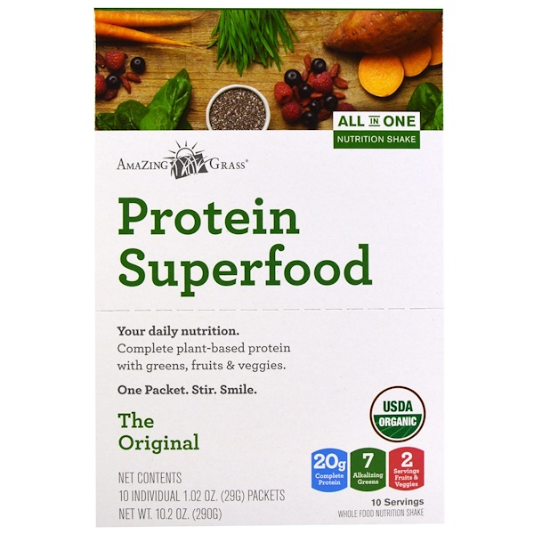 Amazing Grass, Protein Superfood, All In One Nutrition Shake, The Original, 10 Packets, 1.02 oz (29 g) Each (Discontinued Item)